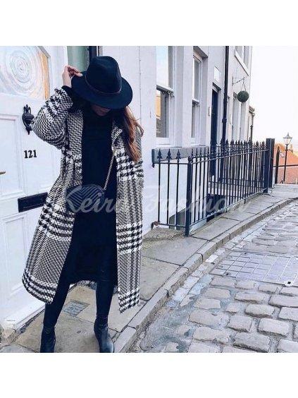 károvaný dlhý kabát oversize