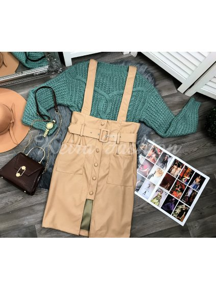 béžová koženková sukňa na traky