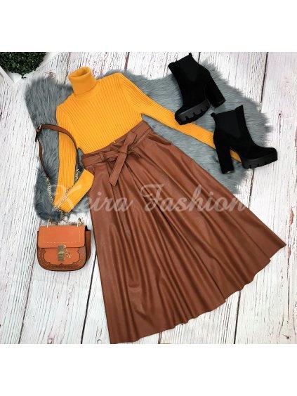 koženková hnedá sukňa