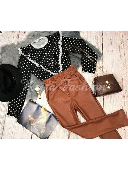 hnedé koženkové nohavice