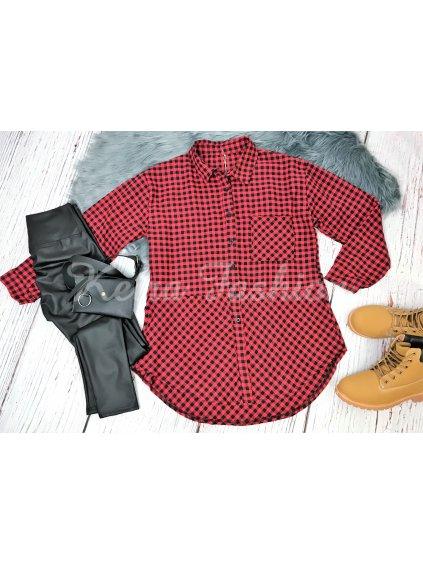 kockovaná košeľa károvaná červená