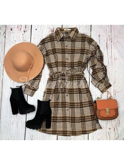 teplé kockované šaty