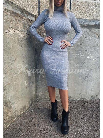 sivé midi šaty úpletové