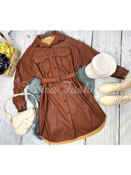 zateplené hnedé koženkové šaty