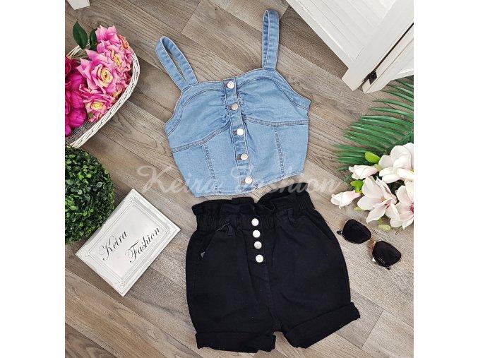Riflové šortky s vysokým pásom - čierne