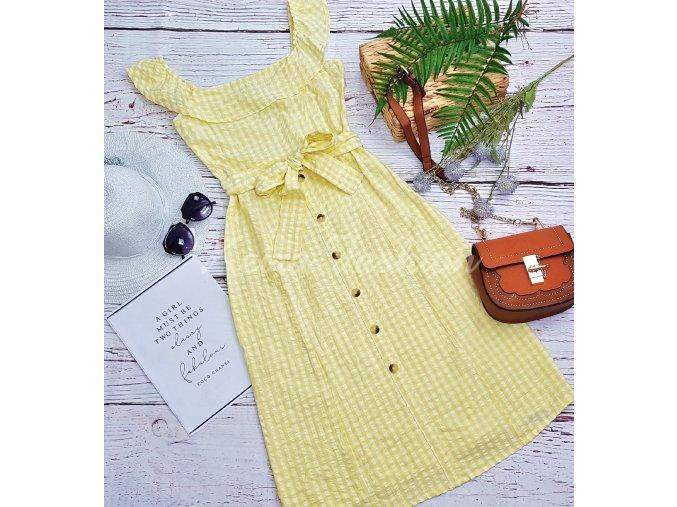 Midi šaty Yellow Check