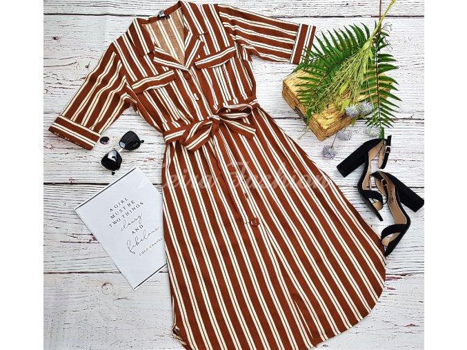 Košeľové midi šaty Brown