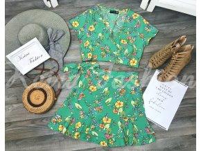Komplet Green Flowers - top + sukňa