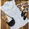 modré košeľové šaty bez rukávov