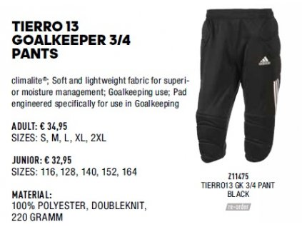 Tierro 13 goalkeeeper 3 4 pants
