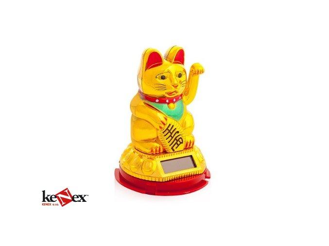 Kočka štěstí Maneki Neko 8 cm solarní nová verze
