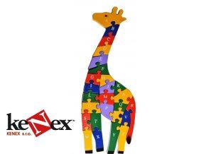hj toys drevene vkladaci puzzle z masivu zirafa s cisly a pismeny