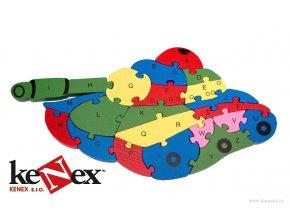 lg drevene vkladaci puzzle z masivu tank s cisly a pismeny