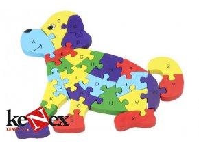 drevene vkladaci puzzle z masivu pes s cisly a pismeny