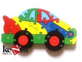 drevene vkladaci puzzle z masivu auto s cisly a pismeny