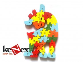 drevene vkladaci puzzle z masivu zirafa 2 s cisly a pismeny