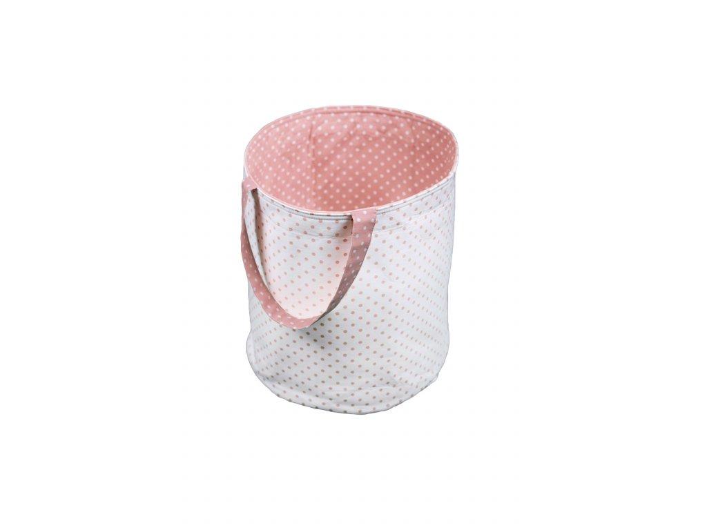 Látkový košík s oušky - nachová s puntíky