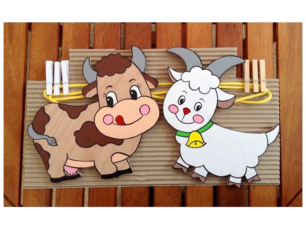 Provázková nástěnka - kravička s kozou