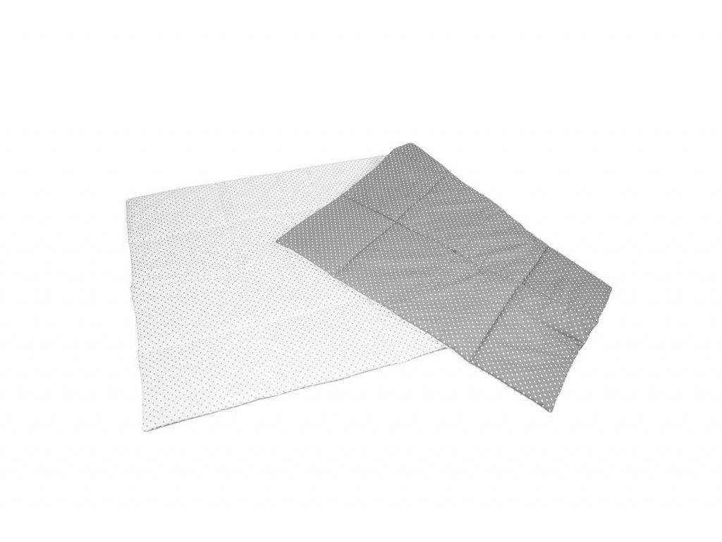 Multifunkční deka bílá s šedými puntíky