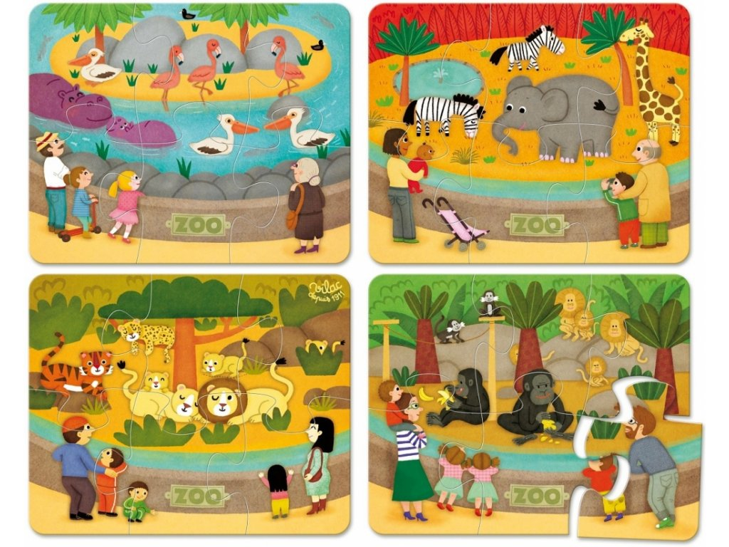 Dřevěné puzzle Zoo