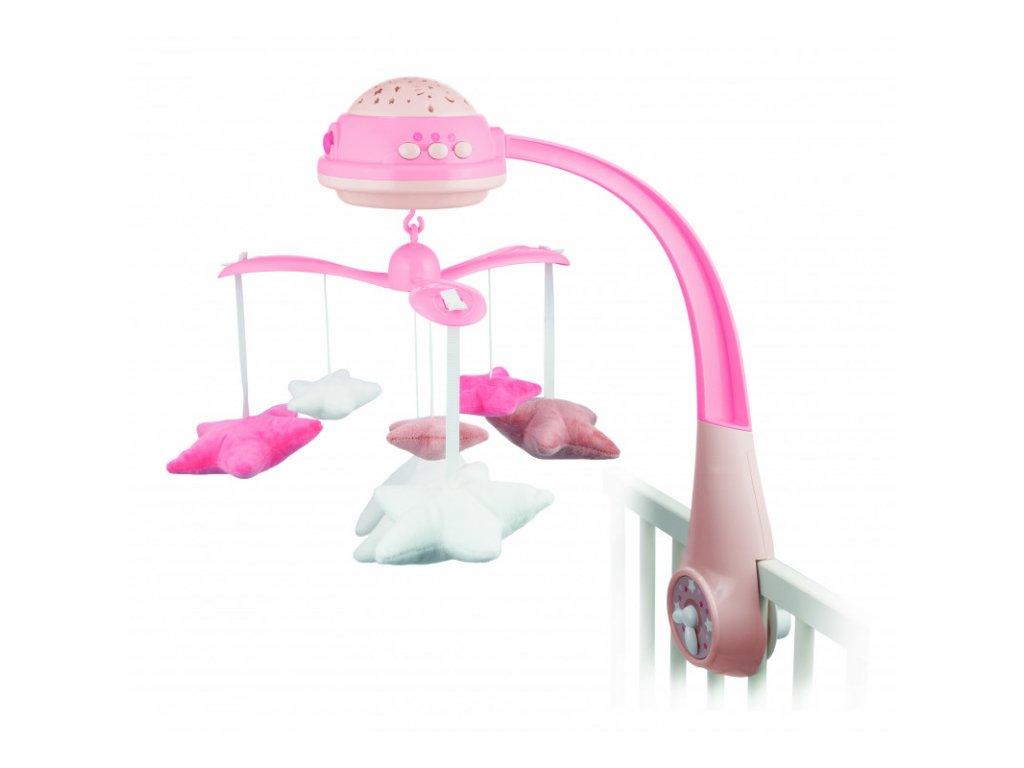 Kolotoč plyšový s projektorem Hvězdičky růžový