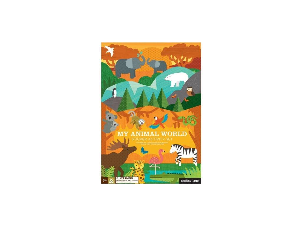 Petitcollage - Znovupoužitelné samolepky se scénou Můj svět zvířat