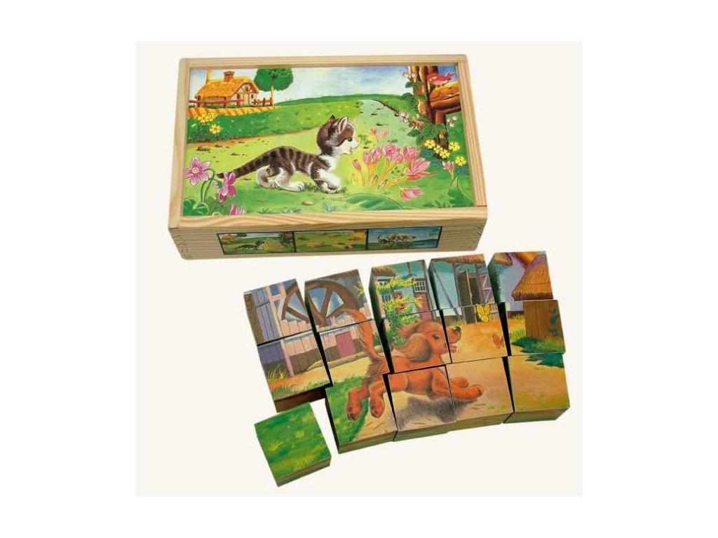 Dřevěné obrázkové kostky domácí zvířátka 15 ks