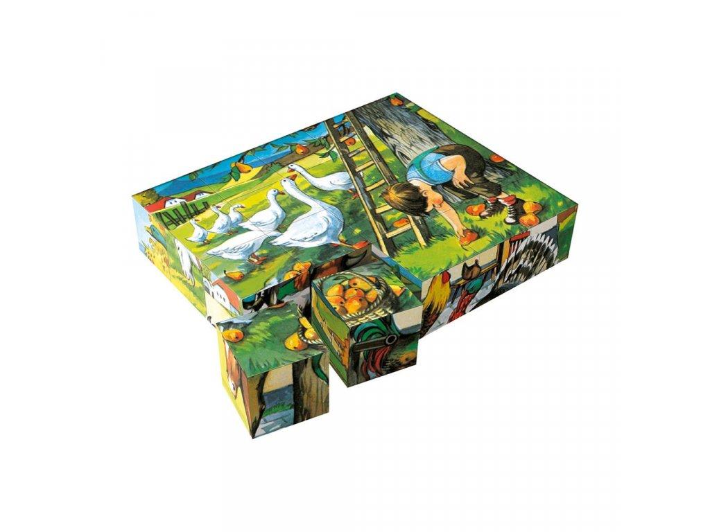 3891 drevene obrazkove kostky kubusy na statku 20 kostek