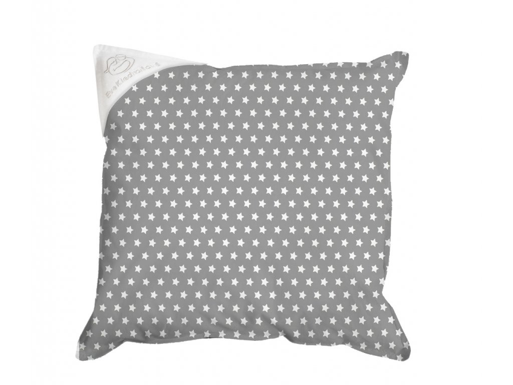 Povlak na polštář 30x30 šedý s bílými hvězdičkami