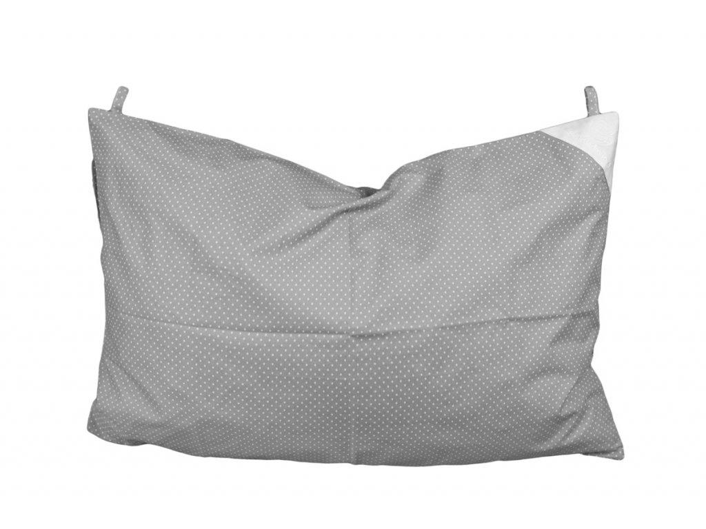 Povlak na polštář 60x40 s poutky šedý s puntíky