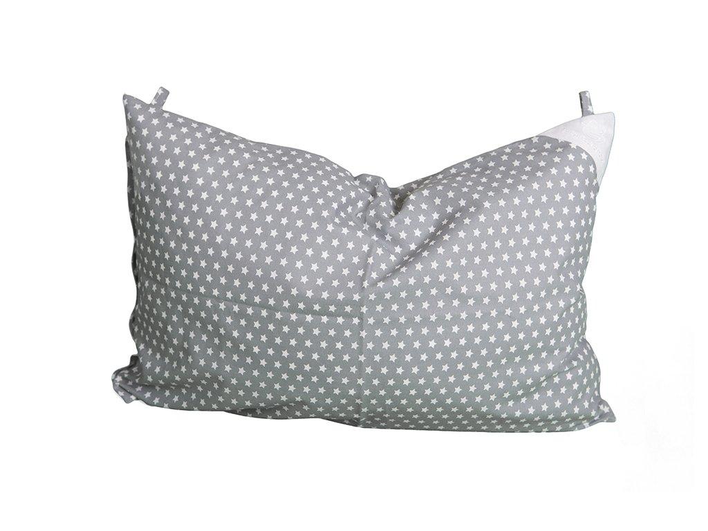 Povlak na polštář 60/40 s poutky šedý s bílými hvězdičkami