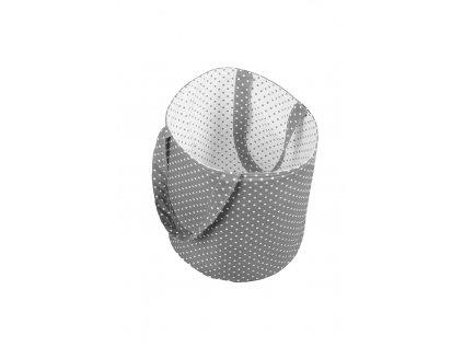 Látkový košík s oušky - bílý s šedými puntíky