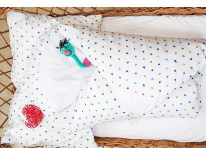 Set 4v1 Maxi dráček - Bílý s barevnými puntíky