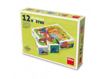 Dřevěné obrázkové kostky kubusy - POVOLÁNÍ - 12 ks