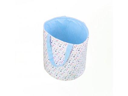 Látkový košík s oušky - jarní louka modrá