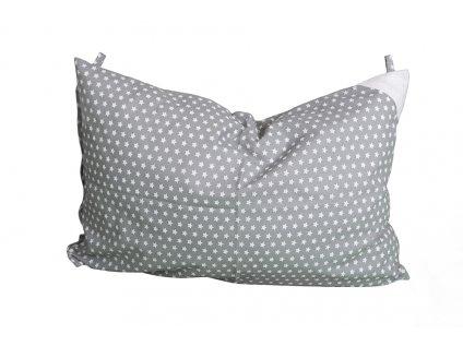 Povlak na polštář 60x40 s poutky šedý s bílými hvězdičkami