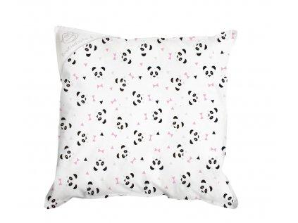 panda růžová polštař 30x30