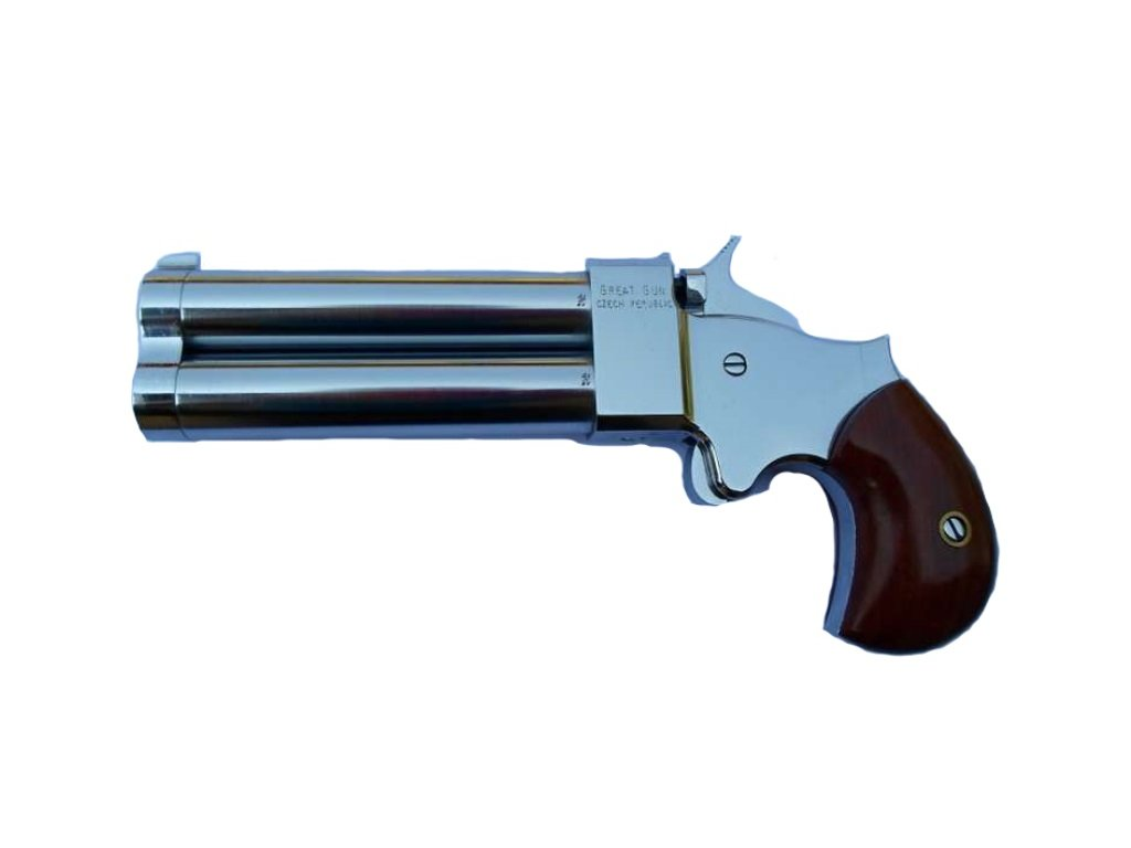 1500453170 perkusni dvouhlavnova pistole derringer great gun chrom raze .54