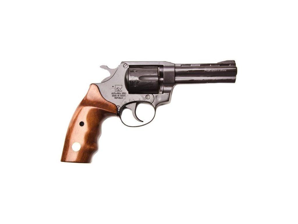"Gas Revolver ALFA 4"" black, wood grip cal. 9mm"