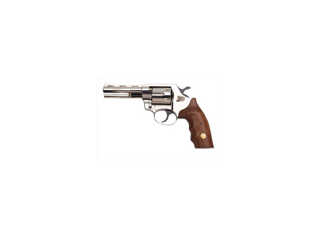 "Gas Revolver ALFA 4"" nickel, wooden grip cal. 9mm"