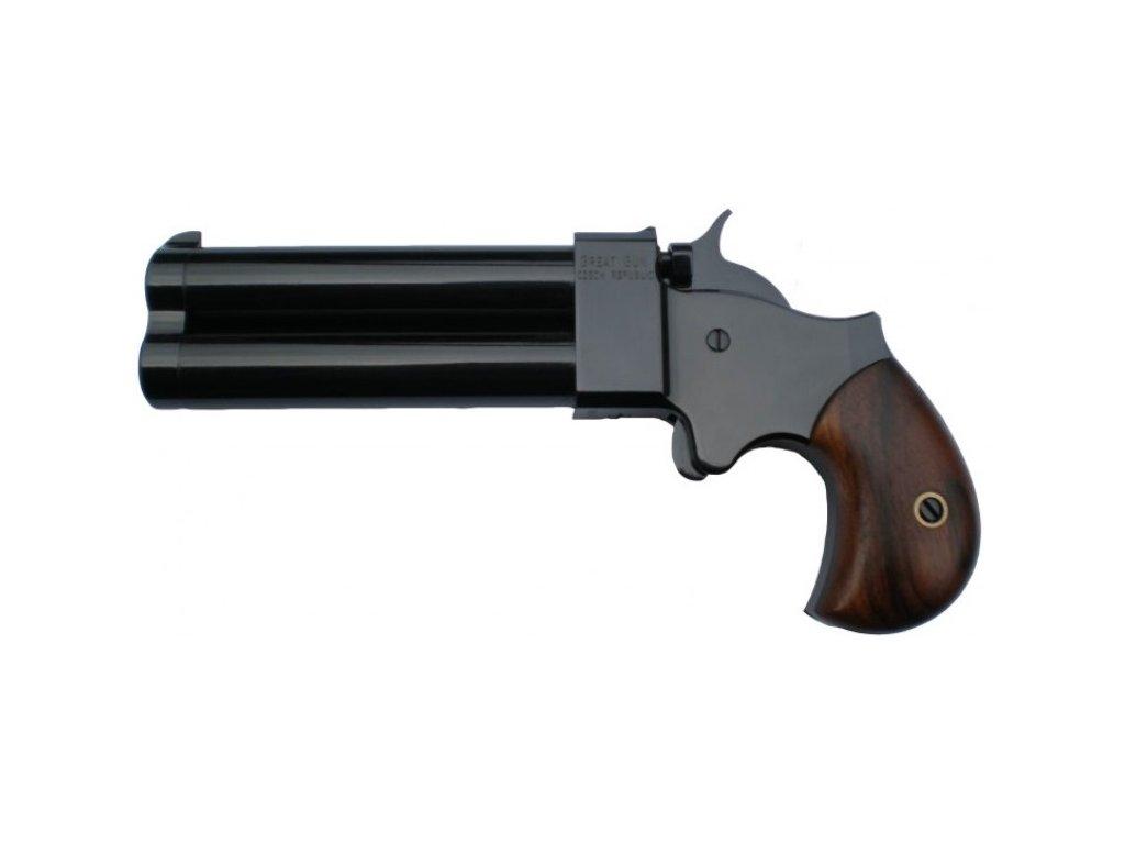 1500451148 perkusni dvouhlavnova pistole derringer great gun cerna raze .54