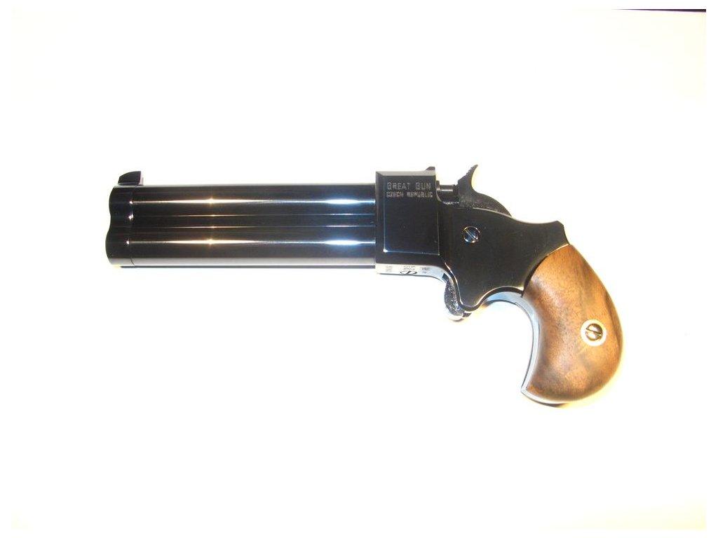"Double-barrel percussion pistol Great Gun Derringer 9mm 3,5"""