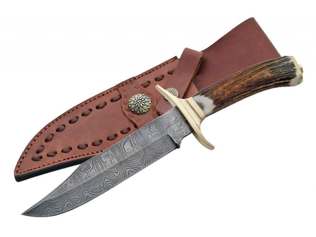 """Damascus DM1009 Brass Guard Bowie 11"""" Knife"""