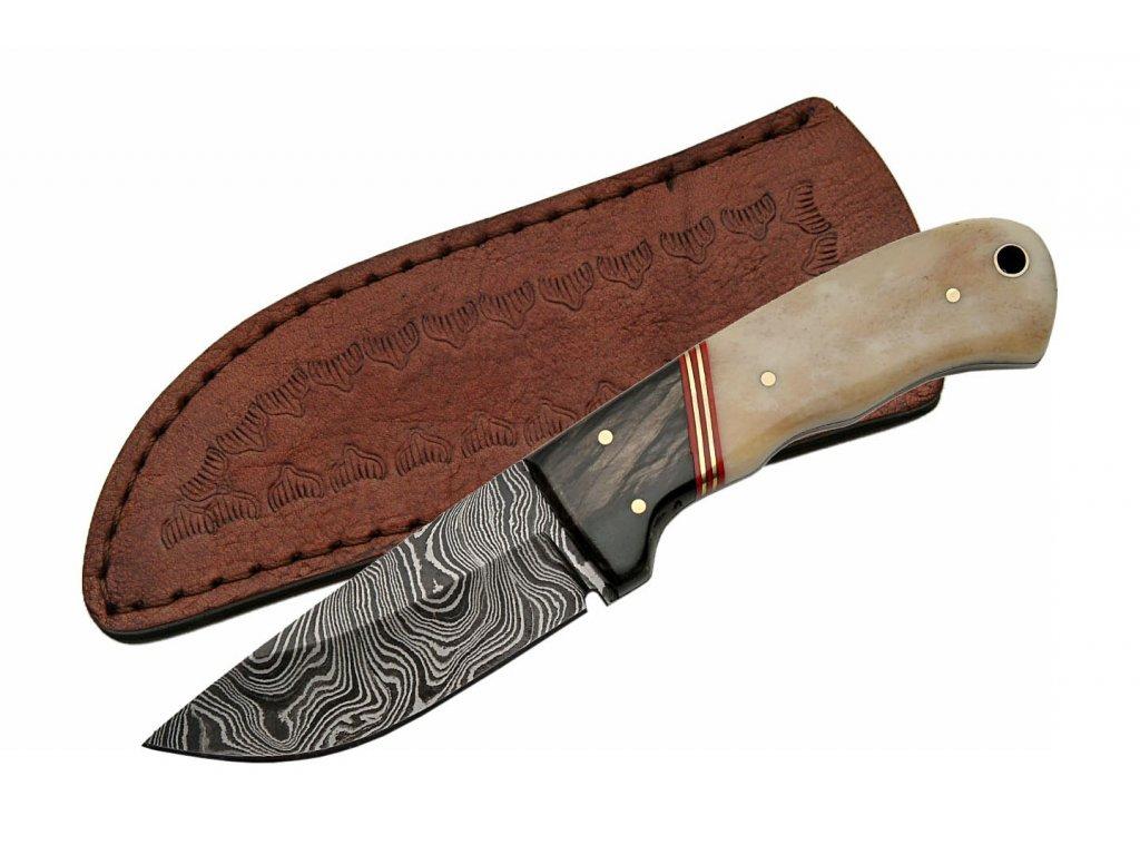 """Damascus DM1068 Bone/Horn Hunter 7"""" Knife"""