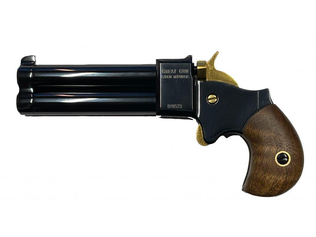 perkusni-dvouhlavnova-pistole-great-gun-derringer-cal-9mm-zlaty-kohout