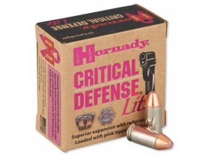 naboj kulovy hornady critical defense lite 9mm luger 100gr ftx