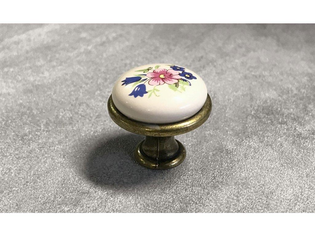 Nábytková knopka s keramikou DG19-G4-MLK1 mosaz patina
