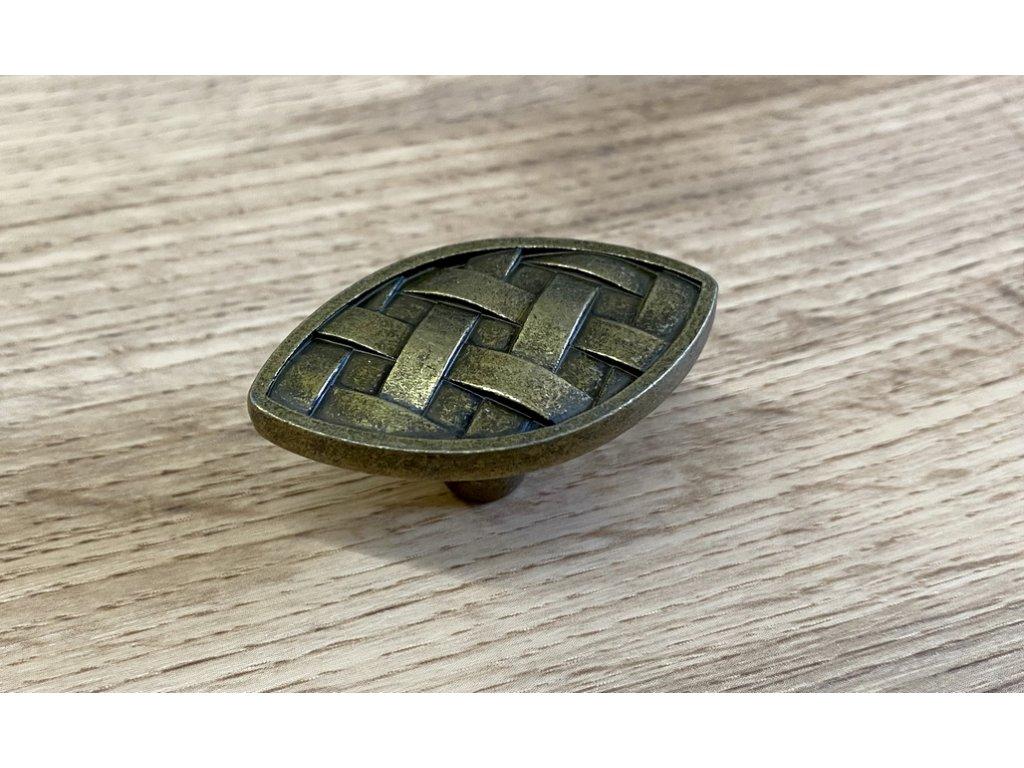 Rustikální nábytková knopka GM-324_G4 mosaz patina