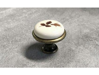Nábytková knopka s keramikou DG19-AB-MLK2 mosaz patina