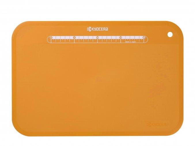 Plastové prkénko s pravítkem na krájení potravin, oranžové, 370 x 250 x 2 mm